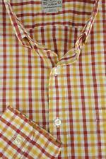 J.Girocollo Uomo Rosso Oro & Bianco Dama Camicia di Cotone Casual L LARGE