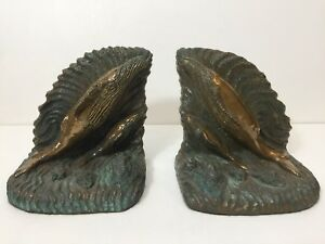 Rare 1989 David Allen Sculpture Bronze & Gypsum Swimming Whales Bookends, Signed