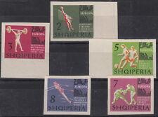 SERIE FRANCOBOLLI 1963 N.D. ALBANIA CAMPIONATI EUROPEI CALCIO VOLLEY 641-5 MNH**