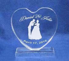 Cinderella Crystal Heart Wedding Cake Topper Engraved NEW**