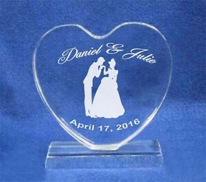 Cinderella Crystal Heart Wedding Cake Topper Engraved NEW*