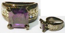 bague bijou rétro couleur noir pierre taillé couleur améthyste cristaux T.53.5 p