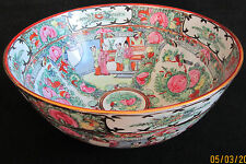 LATE CH'ING DYNASTY HAND PAINTED ROSE MEDALLION PUNCH BOWL