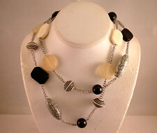 Cookie Lee Long Silver Tone Chain Link Strand Necklace Resin Art Beads Black