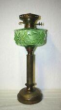 EMBOSSED GREEN GLASS & BRASS COLUMN BASE KEROSENE OIL LAMP BIRD & FLEUR DE LIS
