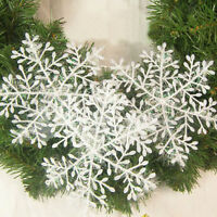 30x White Snowflake Ornaments Christmas Tree Decorations For Home Festival Party