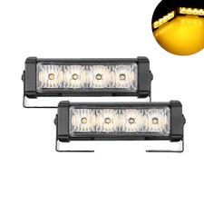 4-LED 12V Car Amber Strobe Flash Grille Light Warning Hazard Emergency Lamp Bar