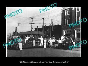 OLD LARGE HISTORIC PHOTO OF CHILLICOTHE MISSOURI THE FIRE DEPARTMENT CREW c1940
