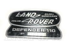 Land Rover Defender 110 New Solihull Warwickshire England Original Badge Plate