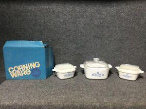 3 Vintage Corning Ware Blue Cornflower 1 1/2qt 2 3/4 cup Set w/Lids