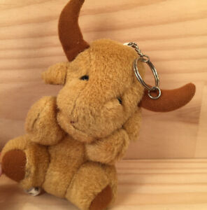 """JOHNNY THE BULL """"Brown"""" Awesome Animal Shaped Plush Soft Toy Keyring Key Chain"""