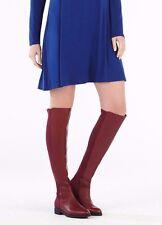 $388 BCBG MAXAZRIA Purple magenta red Matteo Over-knee hi Leather Boots sz 8-7.5