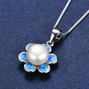 Fashion Silver Blue Simulated Opal White Pearl Pendant Necklace Wedding Jewelry
