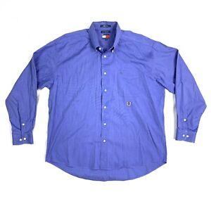Tommy Hilfiger Mens Size XL Blue Vintage Crest Long Sleeve Button Down Shirt