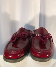 LL Bean Boat Shoe Loafers mules SLIDES  Size 7 1/2 W  Burgundy Leather