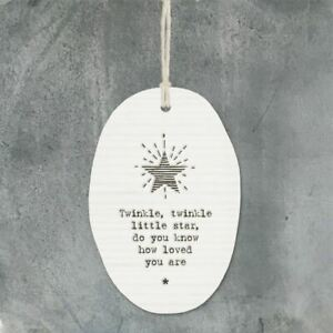East of India Porcelain Twinkle Twinkle New Baby Hanging Gift