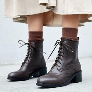 Womens Punk Leather Lace Up Block Heel Brogue Combat Ankle Boots Shoes winter