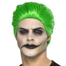 Adult Mens Joker Green Slick Trickster Wig Villian Halloween Costume Accessory
