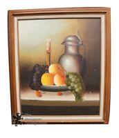 Vintage Fruit Still Life Table Scene by Wynholf Original Oil On Board Realism