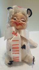 "Vintage Rushton Rubber Face Plush Toy White Squirrel ""I Love You"" Stuffed Animal"