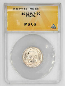 1942 P/P JEFFERSON NICKEL ANACS CERTIFIED MS 66 RPM 24 WRPM 24 UNCIRCULATED(791)