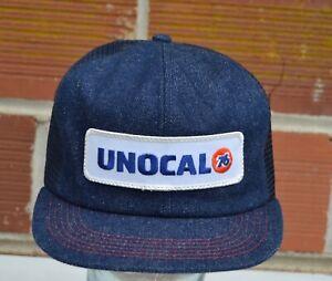 Vintage UNOCAL 76 Denim Mesh Snapback Hat Cap K Brand K products USA