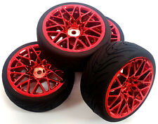 WL-0108 1/10 Scale RC On Road Soft Tread Car Wheels Tire Tyre Red x 4 Offset 3mm
