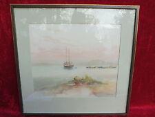bello immagine_acquerello__atmosferica Paesaggio marittimo con Nave__Autografato