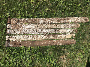 """5 Antique Hand Forged Iron Barn Door Strap Hinges Primitive1800s 31-38"""""""