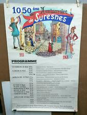 AFFICHE ANCIENNE 1050e ANNIVAIRSAIRE SURESNES HAUT DE SEINE J FLOCH 1968