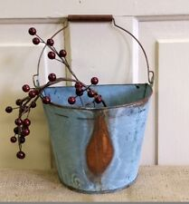 NEW Small WALL Half BUCKET Tin Rusty Basket Primitive Country Metal Farmhouse