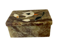 Vintage Small Marble Trinket Jewelry Box With Pink Flower Design. Made In India.