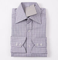 NWT $635 TOM FORD Gray and White Woven Check Spread Collar Cotton Dress Shirt 15