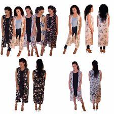 Womens Ladies Sleeveless Floral Printed Chiffon Maxi Midi Kimono Duster