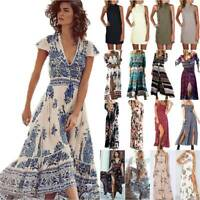Women Wrap Boho Floral Paisley Maxi Dress Party Summer Holiday Beach Dresses New