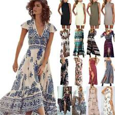 Women Wrap Boho Floral Paisley Maxi Dress Ladies Summer Holiday Beach Dresses AU