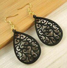 Wood Dangle Bohemian Earrings #282 Black Tear Drop Lightweight Filigree