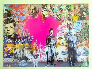 """Mr Brainwash Poster Print Lithograph Original - """"Juxtapose"""" Chaplin Einstein"""