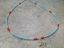 "Turquoise Red Silver Beaded Bow & Arrow Native American Indian 18"" Necklace"
