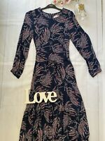 Per Una Sizes 10 20 navy floral long sleeve belted boho midi dress modest floaty