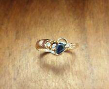 14ct GOLD DIAMOND & SAPPHIRE RING