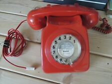 Red BT Corded Phone '746' Rotary Dial - A cool old retro 1970'S Telephone