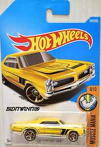 HOT WHEELS 2017 MUSCLE MANIA '67 PONTIAC GTO #8/10 YELLOW
