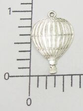 57814        Matte Silver Oxidized Hot Air Balloon Charm Brass Jewelry Finding