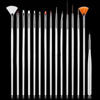 15Pcs Nail Art Design Dotting Brush Painting Pen Tool Stick Drawing Brush White