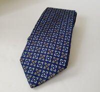 Brooks Brothers Mens Necktie Flower Pattern 100% Silk Color Blue