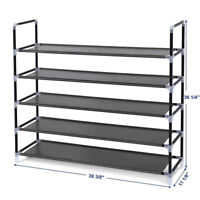 Shoe Rack Organizer Cabinet Storage Shoes Shelves Space Saving 5 Tier w/Handle