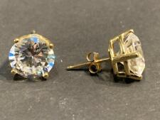 Diamonique 14K Gold and CZ Stud Earrings - 10 mm across - 4.5 grams