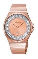 NEW SEIKO SXDF74 Rose Gold Tone Stainless Steel Swarovski Crystal Elements Watch