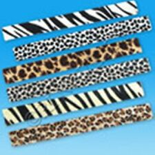 NEW! 12 (1 dozen) Animal Safari Print Fuzzy Slap Bracelets Birthday Party Favors
